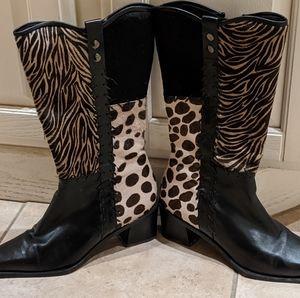 Stuart Weitzman Stunning Leopard Zebra Print Boots